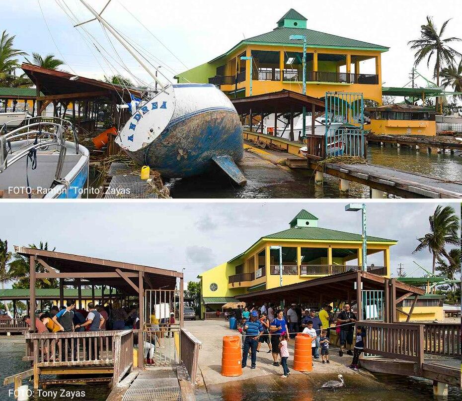 Una vista de la ya revitalizada Guancha de Ponce, donde botes virados terminaron en tierra.