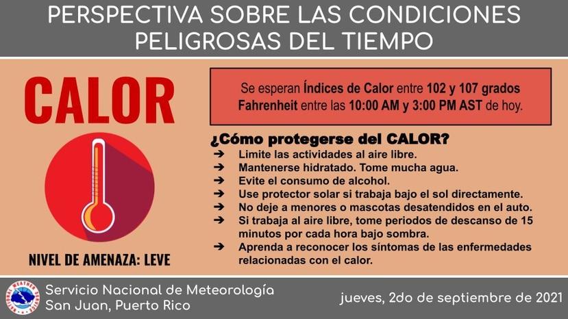 Muestra de la infografía del SNM que alerta sobre una amenaza leve de calor en Puerto Rico para este viernes, 3 de septiembre de 2021.
