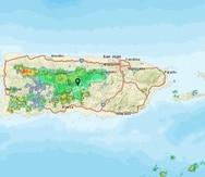 Imagen de satélite muestra las lluvias sobre Puerto Rico en la tarde del domingo.