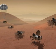 """""""Dragonfly"""", que tiene ocho hélices y se parece a un gran drone, examinará durante casi tres años la superficie de Titán. (NASA vía AP)"""