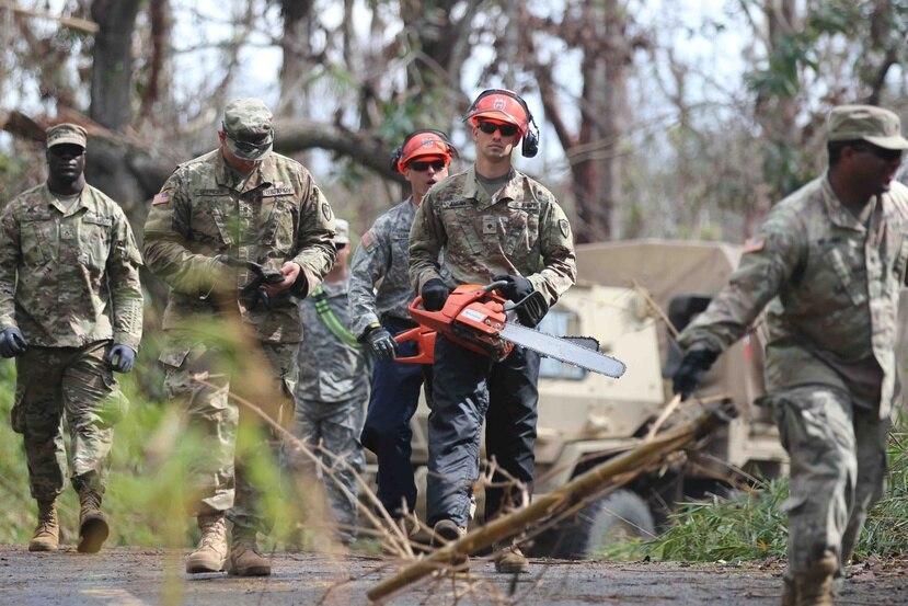 Después del huracán María, la Guardia Nacional limpió 189 millas de carreteras y caminos, mientras que apoyaron en la recolección de sobre 5,000 toneladas de material vegetativo y más de 1,200 toneladas de chatarra. (GFR Media)