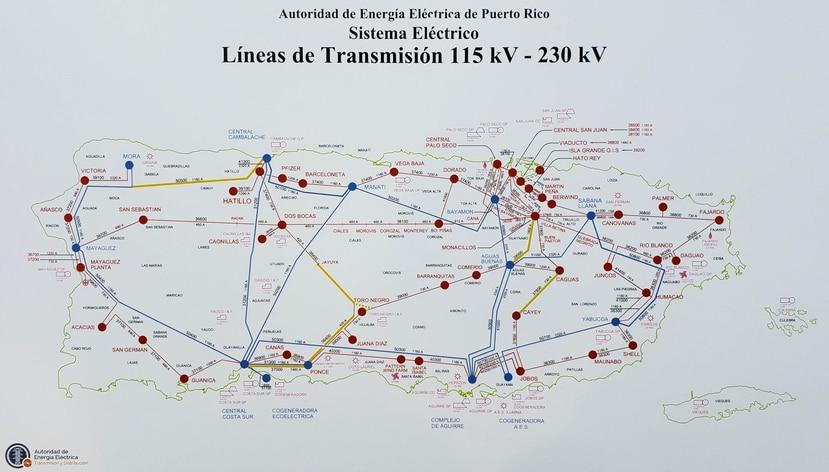 En amarillo, las últimas líneas de transmisión de 115 mil y 250 mil voltios que han sido reparadas por brigadas de la AEE tras quedar destrozadas por los huracanes Irma y María.