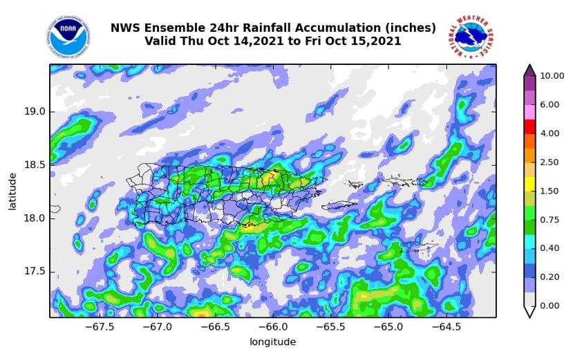 Mapa que muestra el estimado en acumulación de lluvias que podría experimentar la isla este 14 de octubre de 2021.