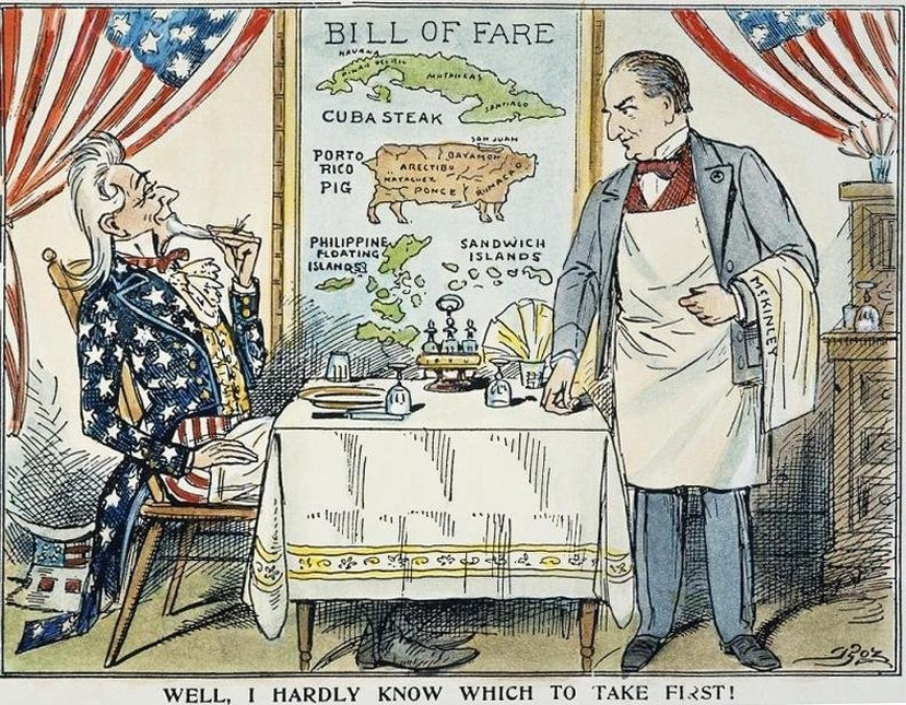 Caricature published by The Boston Globe on May 28, 1898. (Courtesy of the Library of Congress)
