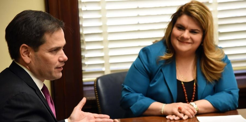 Florida Republican Senator Marco Rubio, along with Commissioner Jenniffer Gonzalez. (Supplied)