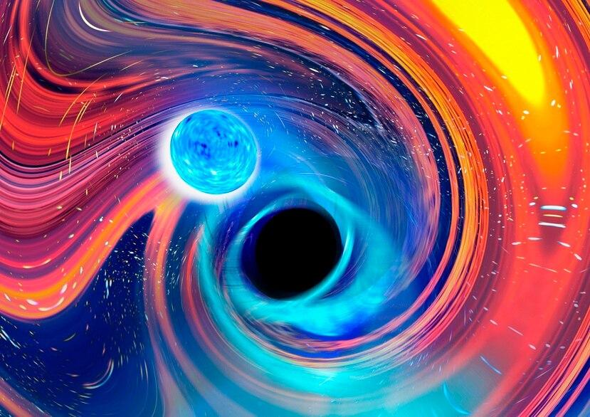 Ilustración facilitada por Carl Knox representando un agujero negro (al centro) mientras engulle una estrella de neutrones, arriba a la izquierda. Las líneas azules son ondas gravitacionales, ondulaciones en el tiempo y el espacio, que es como los astrónomos detectaron la fusión, mientras que las áreas naranjas y rojas indican partes de la estrella de neutrones desprendiéndose.