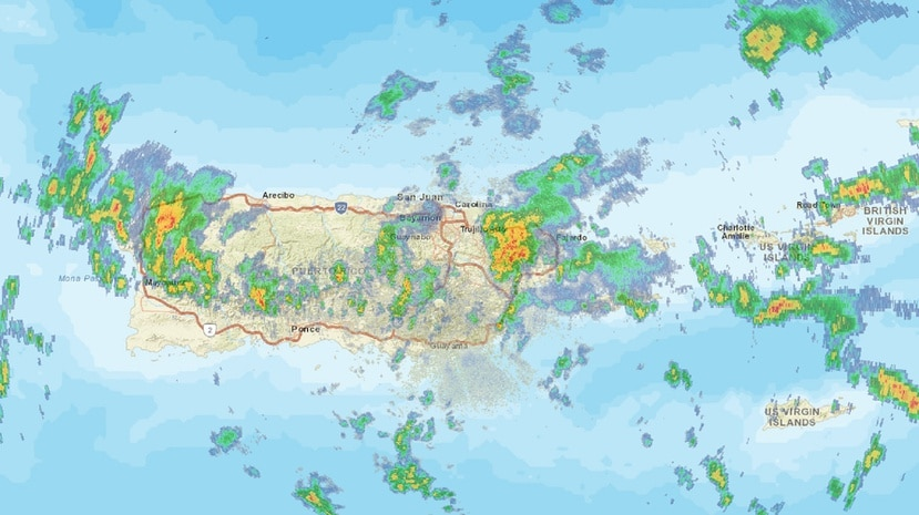 Captura de la imagen de radar del SNM que muestra el sistema de lluvias.