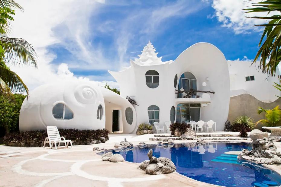 La casa en forma de caracol, en México, es una de las mejores valoradas en la plataforma de Airbnb.