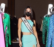 Estefania Soto Torres, Miss Universe Puerto Rico 2020, arrives at the Seminole Hard Rock Hotel & Casino in Hollywood, Florida for the 69th Miss Universe Competition® wearing an Invisi Smart mask.