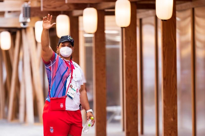 La judoca Melissa Mojica, aquí en la zona mixta de la Villa Olímpica de Tokio, tendrá su primer combate contra la portuguesa Rochele Nunes en la división de 78 kilogramos y más.