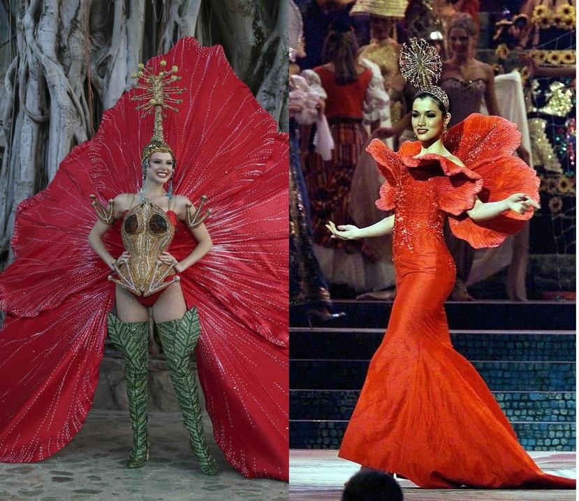 Dos versiones de trajes típicos en los que la flor de maga fue la inspiración. A la izquierda, Madison Anderson Berríos y a la derecha, Zoribel Fonalledas. (GFR Media y Suministrada/ Puerto Rican Fashion History Council)