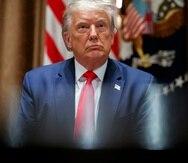 Donald Trump fotografiado durante un encuentro con trabajadores del sector tecnológico en la Casa Blanca de Washington el 3 de agosto del 2020. (AP Photo/Alex Brandon)