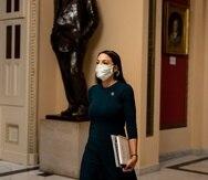 La congresista Alexandria Ocasio Cortez en el Capitolio.