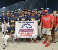 Integrantes del PR Fire Baseball, campeones de la Serie Mundial Palomino en la categoría Sub-18.