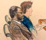En este boceto realizado a partir de un monitor de video de una sala de tribunal en Brooklyn, el acusado R. Kelly, a la izquierda, durante el día de apertura de su juicio por acusaciones de abuso sexual el miércoles 18 de agosto de 2021 en Nueva York.