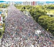 El Paro Nacional, la marcha que cerró ambos carriles del expreso Las Américas, tuvo una asistencia récord. (GFR Media)