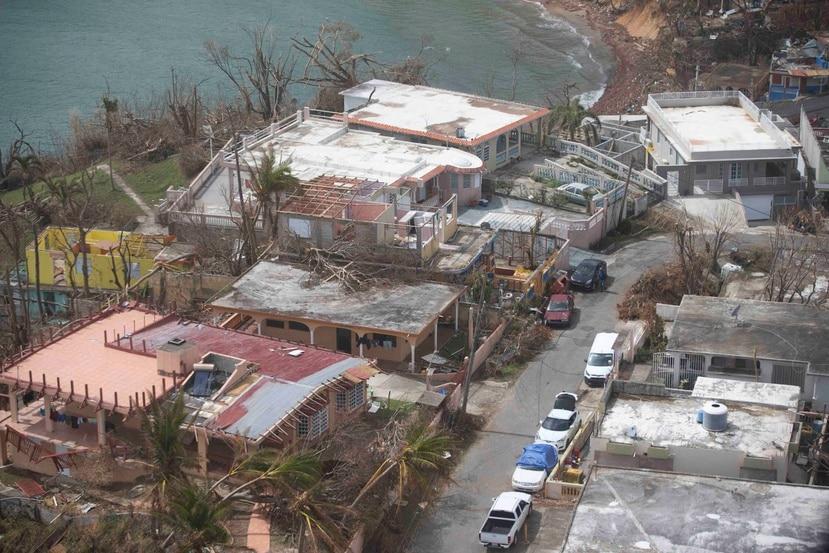Vista parcial de Patillas tras el huracán María.
