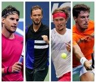 De izquierda a derecha, los tenistas Dominic Thiem, Daniil Medvedev, Alexander Zverev  y Pablo Carreño Busta.