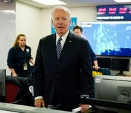 President Joe Biden talks to employees at FEMA headquarters, Monday, May 24, 2021, in Washington. Biden will hold a summit with Vladimir Putin next month in Geneva, a face-to-face meeting between the two leaders that comes amid escalating tensions between the U.S. and Russia in the first months of the Biden administration. (AP Photo/Evan Vucci)