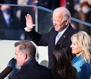 Joe Biden is sworn in as the 46th president of the United States by Chief Justice John Roberts as Jill Biden holds the Bible during the 59th Presidential Inauguration at the U.S. Capitol in Washington, Wednesday, Jan. 20, 2021.(Tasos Katopodis/Pool Photo via AP)