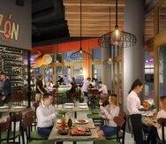 El restaurante Sazón Cocina Criolla, con capacidad para 160 personas, pronto anunciará su fecha de apertura. Sobre estas líneas, imagen digital de cómo lucirá el interior del establecimiento.