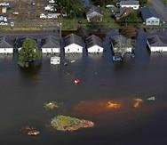 Vista aérea de unas casas en Dillon, Carolina del Sur, que se inundaron debido al huracán Florence. (AP)