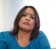 La exrepresentante María Milagros Charbonier durante la conferencia de prensa que realizó en su oficina para reaccionar tras allanamiento del FBI en su casa.