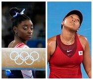 A la izquierda, la gimnasta estadounidense Simone Biles. A la derecha, la tenista japonesa Naomi Osaka.