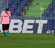 El argentino Lionel Messi, del Barcelona, se lamenta durante un encuentro de La Liga española ante Getafe.