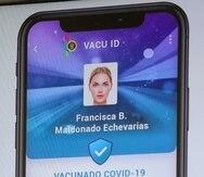 Ejemplo de cómo es el Vacu ID, identificación de vacunación contra el COVID-19 expedida por el gobierno de Puerto Rico.