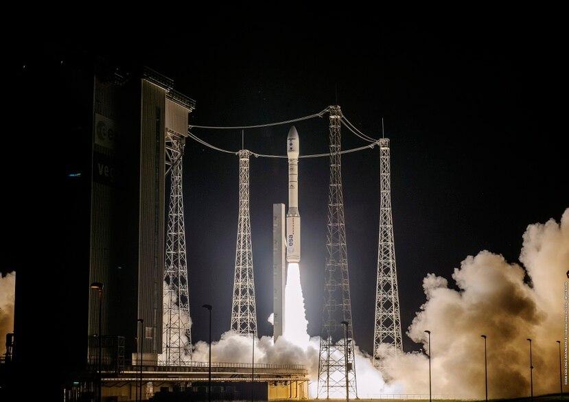 Imagen del cohete en el puerto espacial de Kurú, en la Guayana Francesa.