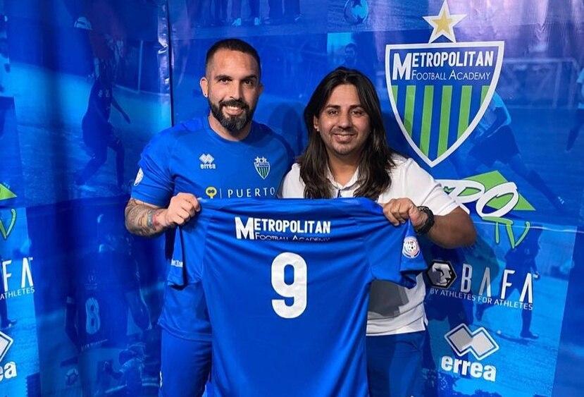 El venezolano Giancarlo Maldonado con el presidente y director técnico de Metropolitan, Jorge Silvetti.