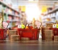 Alimentos, dinero, aumentos, supermercados, pan, monedas, consumo, economía.