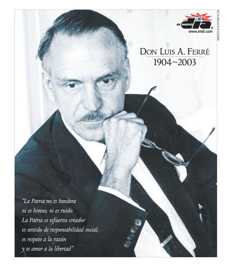2003 | Portada de El Nuevo Día el 22 de octubre, a un día del fallecimiento del exgobernador Luis A. Ferré. (GFR Media)