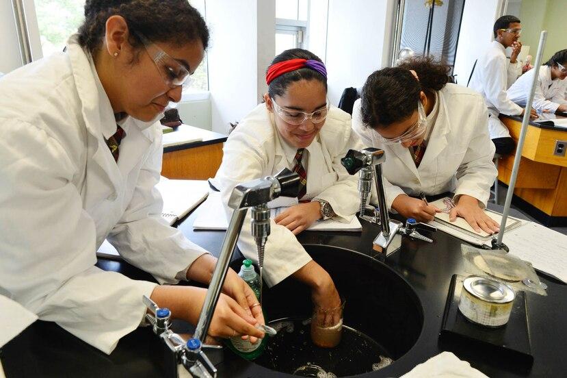 Estudiantes de la Escuela Secundaria Especializada en Ciencias, Matemáticas y Tecnología de Caguas realizan una tarea en uno de los laboratorios del plantel.
