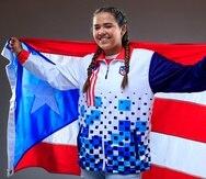 Adriana Díaz participó hoy en una sesión de fotos en la Casa Olímpica.