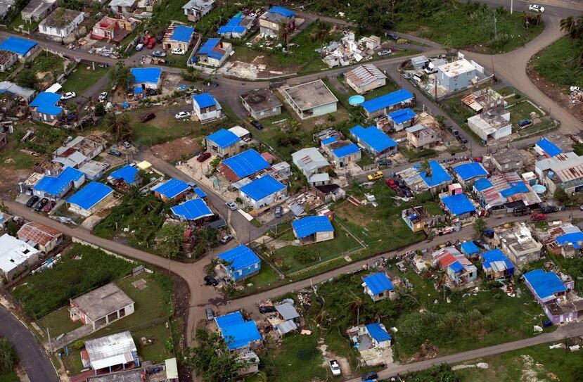 Vista aérea de una comunidad en Dorado en la que se observan los toldos azules de FEMA en los techos de las residencias.(Archivo/GFR Media)
