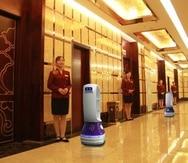 El robot Peanut, de Keenon, era uno de los elementos distintivos de un hotel en Hangzhou; ahora se usa para repartir comida entre los huéspedes que están en cuarentena. (La Nación/GDA)
