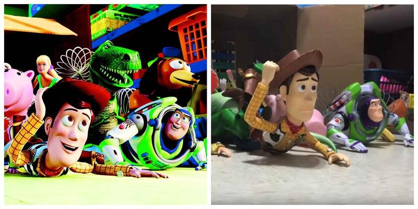 Dos imágenes paralelas de la versión original y la recreación que los hermanos realizaron. (Captura)