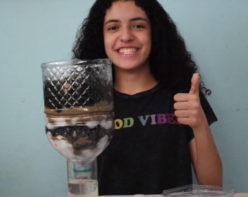 Con el proyecto Water For Life, un filtro para proveer agua limpia a poblaciones vulnerables, Melanie Torres Crespo, ganó el primer lugar en la zona metropolitana. suministrada