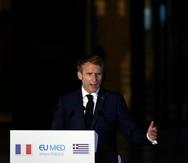 El presidente francés Emmanuel Macron en Atenas el 17 de septiembre del 2021.