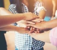 Teamwork togetherness collaboration, business teamwork concept.