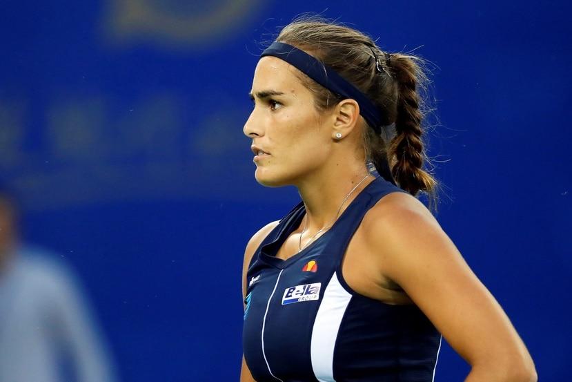 Mónica Puig durante un partido del torneo WTA de Wuhan , China, en septiembre. (Agencia EFE)