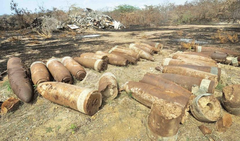 En la foto, residuos de material militar de la Marina de EE.UU. en la isla de Vieques. (GFR Media)