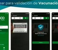 En la primera pantalla, a la izquierda, se observa donde se puede escanear el código de otro Vacu Id para confirmar el estatus de inmunización de la persona, visitante o cliente.
