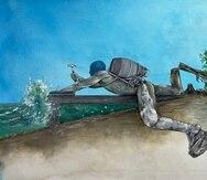 Obra de Éktor Rivera que se inspira en la construcción de un muro en una playa de Rincón.