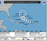 La tormenta tropical Peter podría debilitarse, informó el Centro Nacional de Huracanes.