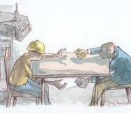 dibujo ilustracion caricatura motivos de juan alvarez oneill. archivo historico. corrupcion, crimen cuello blanco.