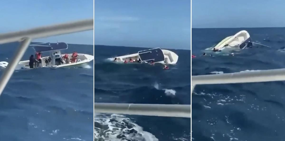 Mira el momento en que una lancha naufraga cerca de Culebra