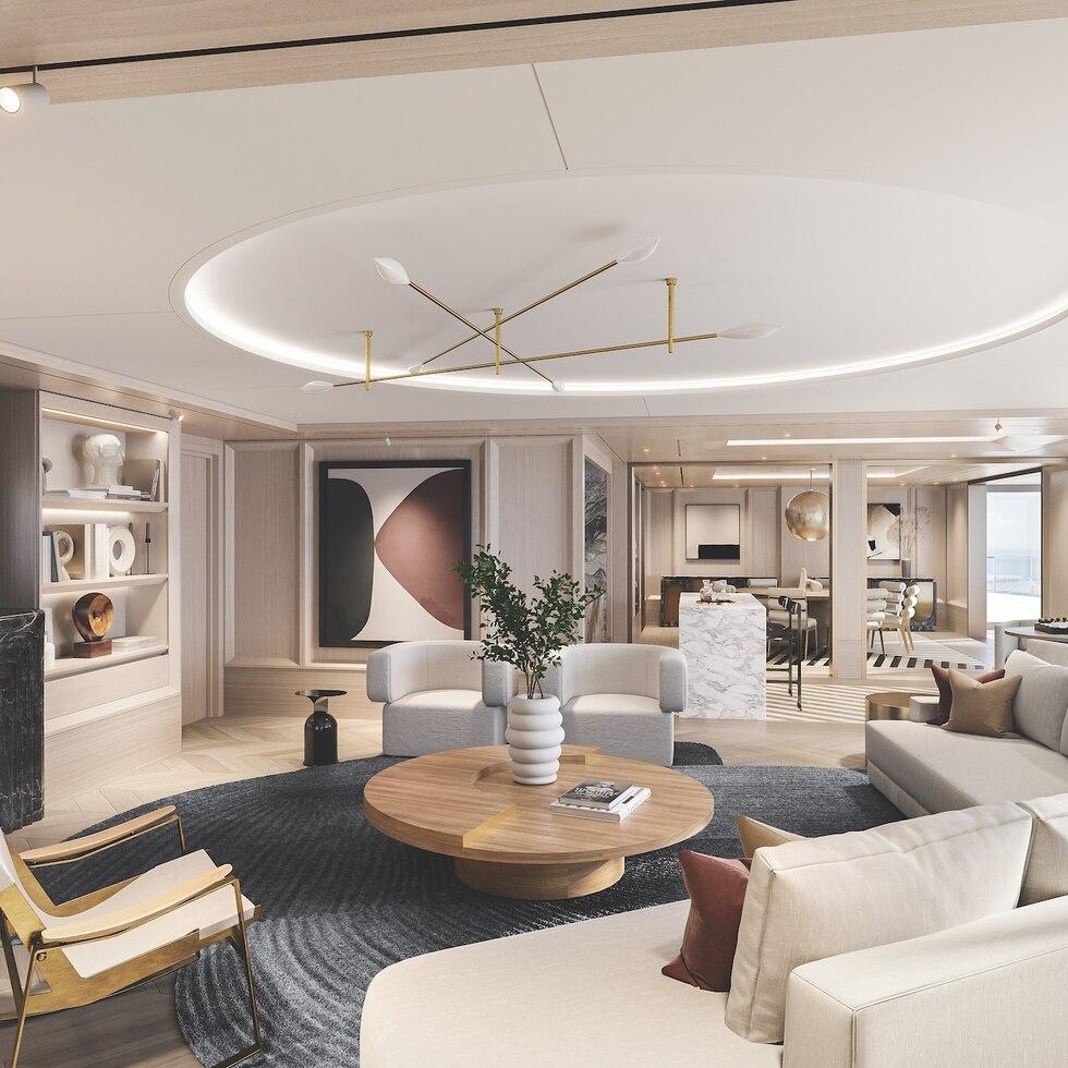 La sala de estar ofrece una idea de lo espaciosa y lujosa de esta suite.